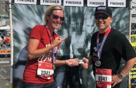Beau Necco Celebrates Flying Pig finish with Heather