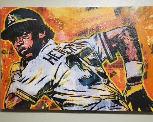 Greg's Rickey Henderson Painting by Blake Jamieson
